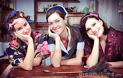 Three cheerful housewives