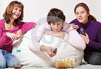 Three cheerful teens