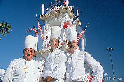 Three chefs at the French Revolution Bicentennial Editorial Stock Image