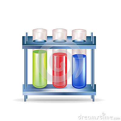 Three chemical substances in glass containers