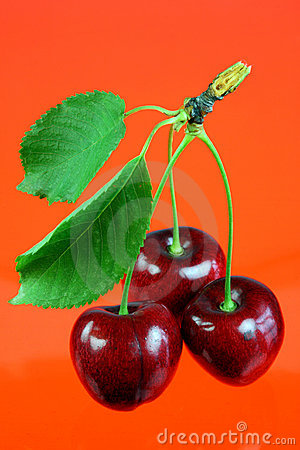 Free Three Cherries With Leafs. Royalty Free Stock Photo - 5827405