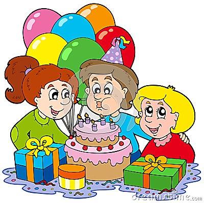 Free Three Children At Birthday Party Stock Photo - 13087540