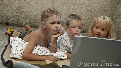 Three children computer