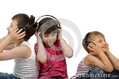 Three Children Listen to Music