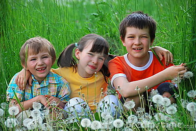 Three Children in a Meadow