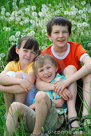 Three Children in Meadow