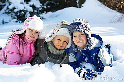 Three Children Playing in Snow