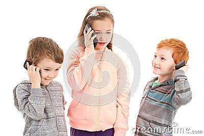 Three children talking on kids mobile phone