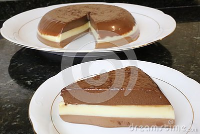 Three chocolates cake typical of home cooking