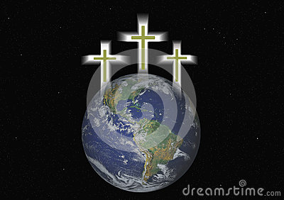 Three Christian Crosses Hover Over Earth