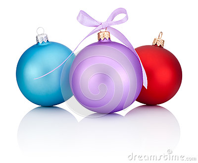 Three christmas balls red, blue and purple with ribbon bow