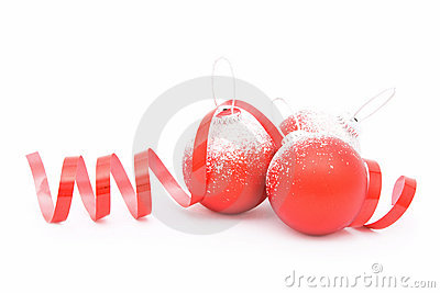 Three Christmas balls and a ribbon