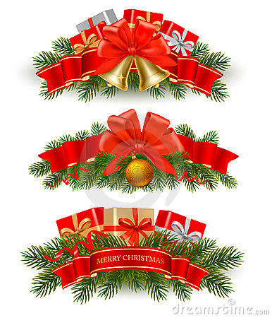 Free Three Christmas Banners With Red Ribbons. Vector. Royalty Free Stock Photography - 22531947