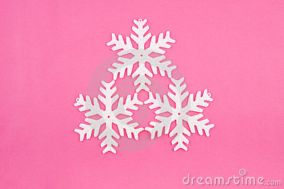 Three Christmas decoration white snowflakes