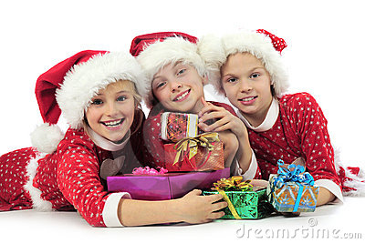 Three christmas girls