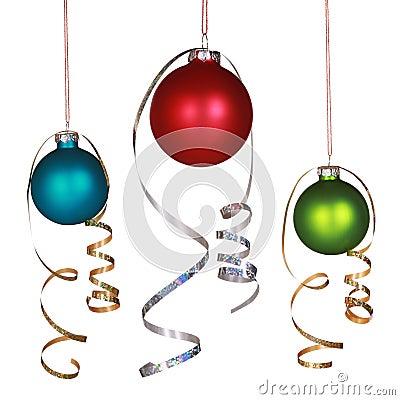 Three Christmas ornaments