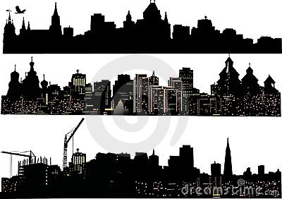 Three cities silhouettes