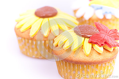 Three close up cupcakes