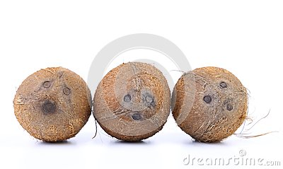 Three coconuts isolated