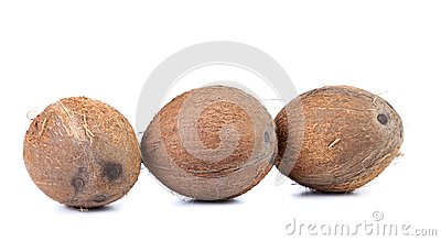 Three coconuts isolated on a white background