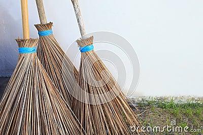 Three of coconuts leaf broom
