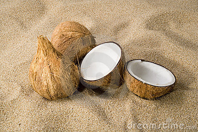 Three coconuts on the sand