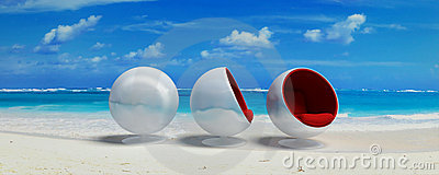 Three cocoon design seats in paradise