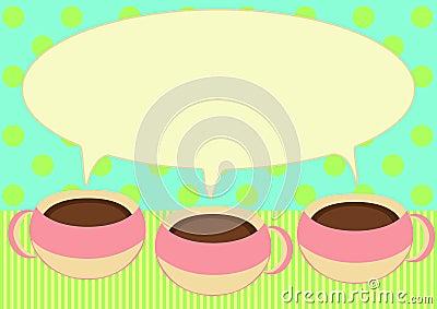 Three coffee cups talking invitation card