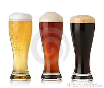 Three cold beer, isolated