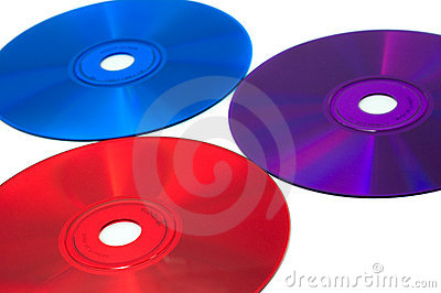 Three color CD compact discs: red, blue and violet