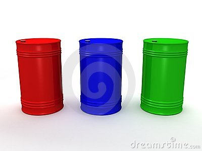 Three color steel barrels on white background