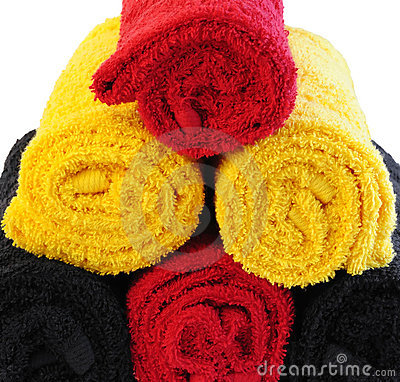 Three color towels in rolls