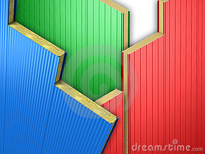 Three color wall panels