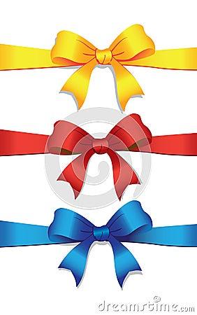 Three colored bows