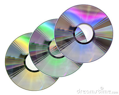 Three colored CD / DVD disks isolated on White