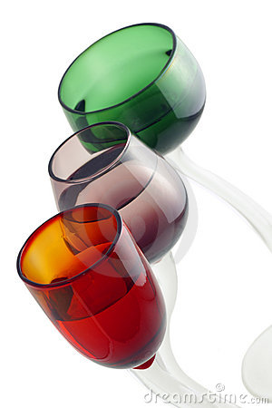 Three colored cocktail glasses