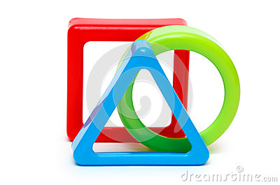 Three colored geometric forms
