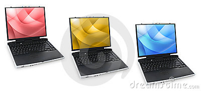 Three Colored Laptops
