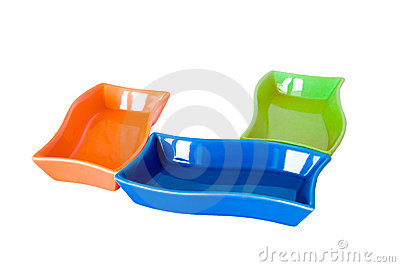 Three colored sauce-boats