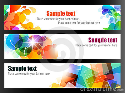 Three Colorful Banners Vector Illustration