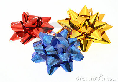 Three colorful bows on white background