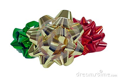 Three Colorful Christmas Bows