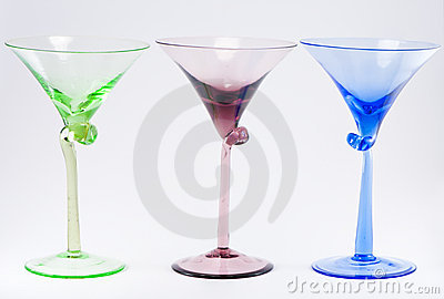 Three Colorful Cocktail Glasses