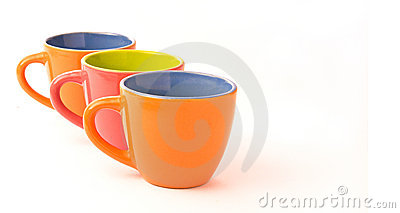 Three colorful coffee cups