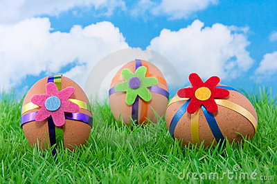 Three colorful decorated easter eggs
