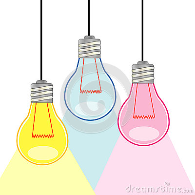 Three Colorful light bulbs
