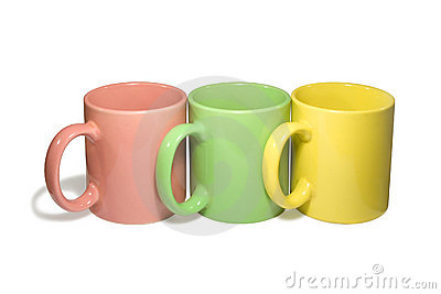 Three colorful mugs