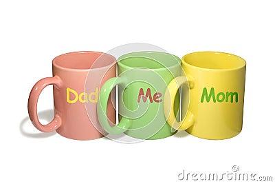 Three colorful mugs -  Dad, Me, Mom (family)