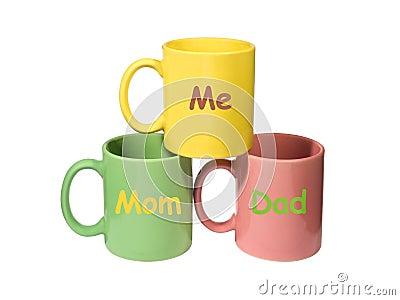 Three colorful mugs - Mom, Dad, Me (family)