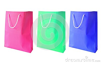 Three colorful of paper bag isolated